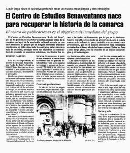 Noticia sobre la creación del CEB - El Correo de Zamora 5 de agosto de 1990