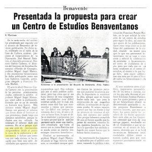 Noticia sobre la creación del CEB - El Correo de Zamora 22 de octubre de 1989
